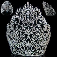 Rhinestone Miss Beauty Queen Pageant Crown Silver Tiara - Modern Royal Tiaras, Royal Jewels, Tiaras And Crowns, Crown Jewels, Bridal Crown, Bridal Tiara, Crown For Women, Queens Tiaras, Pageant Crowns
