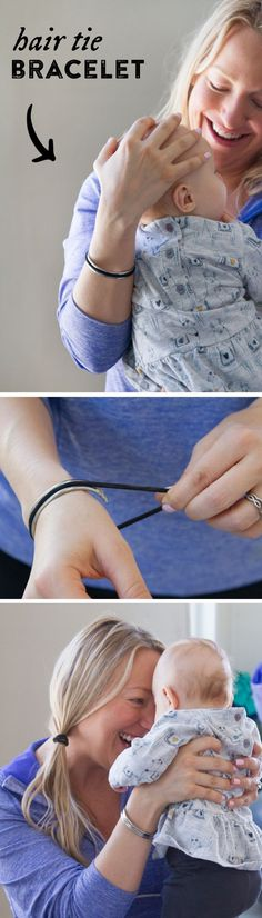 The hair tie bracelet keeps you looking put together while keeping a hair tie ready for use!