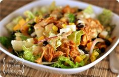 BBQ Chicken Salad with BBQ Cilantro Lime Dressing.  My friend made this for the 4th of July.  It was a hit! So delish!