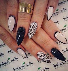 Tribal neutral black nails