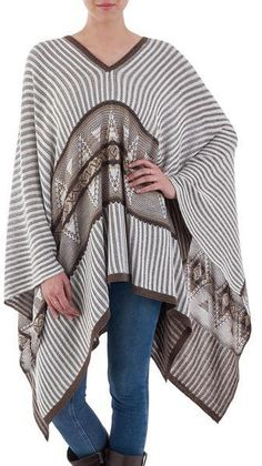 Bohemian Poncho in Brown and White Stripes from Peru, 'Memories Past'