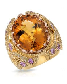 14K Yellow Rings with Citrine, Pink Sapphires, and Diamonds 20.75ctw Total Rings Weight 23.0g