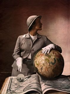 The Art of Travel. Louise Dahl-Wolfe, photograph of Mary Jane Russell for Harper's Bazaar August 1949.