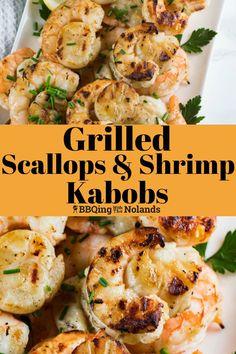 Shrimp And Scallop Recipes, Shrimp Kabob Recipes, Shrimp Kabobs, Marinated Shrimp, Grilled Seafood, Seafood Recipes, Grilled Scallops Recipe Skewers, Fish Recipes, Grilled Skewers