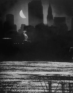 NYC. Dark Manhattan taking a full, wet moon bath,1946  // by Andreas Feininger