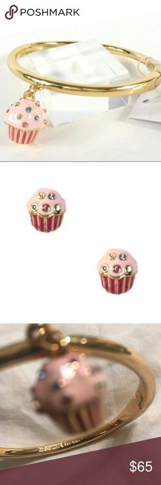 """Kate spade cupcake bracelet charm and earring set 100% AUTHENTIC!, NEW WITH TAGS!, KATE SPADE WOMEN'S """"TAKE THE CAKE"""" CUPCAKE CHARM GOLD TONE  and earrings set. kate spade Accessories"""