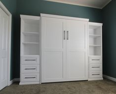 Our customer chose the Bedder Way Vertical Queen Plank Face Murphy bed in oak painted White along with two side cabinets. Murphy Bed, Plank, Tall Cabinet Storage, Cabinets, Queen, Gallery, Face, Furniture, Home Decor