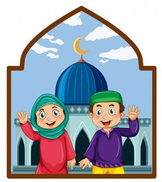 A muslim couple at mosque Free Vector Smash Book, Party Icon, Muslim Couples, Muslim Brides, Wallpaper Keren, Eid Mubarak, Happy People, Free Vector Art, Character Illustration