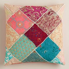 Multicolor Sari Patch Throw Pillow I want this idea, but in greens and blues, for new bed pillow shams.