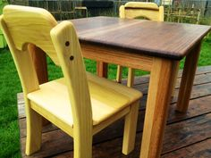 Wooden table and chair's set by heartwoodnaturaltoys on Etsy, $380.00