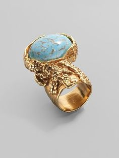 Yves Saint Laurent Arty Ovale Ring/Bright Goldtone <3   This ring is fabulous in Coral and other stones as well!