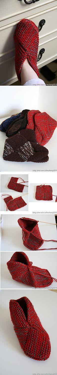 Носки- тапочки спицами..