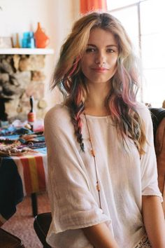 DIY ombre hair. Use reg. Chalk or buy Free People Hair Chalk for 14.00. Grab a strand of hair and run it on the colored chalk you choose. Twist hair and rub.