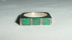 FABULOUS VINTAGE MODERNIST 925 SILVER RING STRIPED GREEN INLAID MALACHITE SIZE 6 #Unbranded