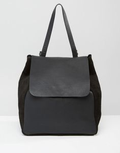 Warehouse | Warehouse Leather Panelled Backpack at ASOS