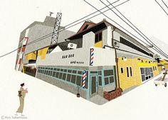 Public Bath and Barbershop, Kyōto by Ryo Takemasa, via Flickr