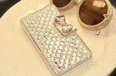 Bling Silver Crystal Bow Wallet Case Cover iPhone 5 5S