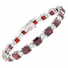 Square CZ Ruby Diamond .925 Sterling Silver Bracelet Glitzs. $55.99