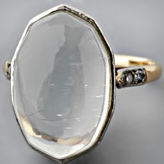 Antique Art Deco Gold Moonstone and Diamond Ring.Amazing!