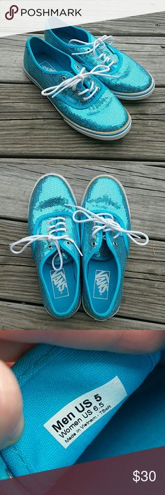 Blue Sequins Vans Lo-Pros Blue Sequins Vans Lo-Pros in great condition. These have been worn 5 times max. Men's 5, Women's 6.5. Vans Shoes Sneakers