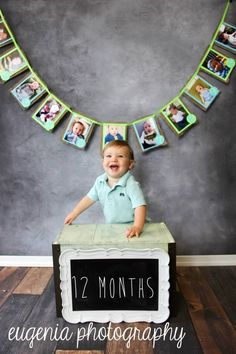 12 month picture banner for a birthday 12 Month Pictures, Baby Family Pictures, Baby Photos, Baby 1st Birthday, First Birthday Parties, First Birthdays, Birthday Ideas, Barney Party, Lincoln Birthday