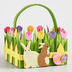 One of my favorite discoveries at WorldMarket.com: Large Bunny Felt Easter Basket