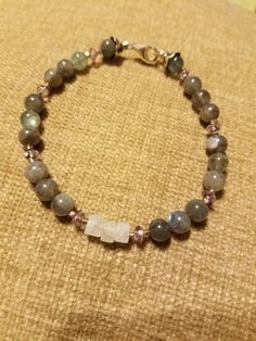 Labradorite and moonstone bracelet by Dharmajewelry