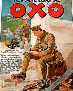 inch Canvas Print (other products available) - Poster advertising OXO from World War I (litho) by Frank Dadd Soldier writing a thank you letter to home.TopFoto - Image supplied by Topfoto - Box Canvas Print made in the USA Vintage Advertising Posters, Vintage Advertisements, Vintage Ads, Vintage Posters, Vintage Labels, Vintage Ephemera, Vintage Books, Vintage Images, Vintage Prints