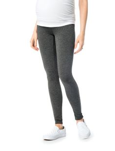 A Pea in the Pod Secret Fit Belly Charcoal French Terry Maternity Leggings