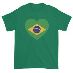 BRAZIL FLAG HEART - Mens/Unisex Short sleeve t-shirt