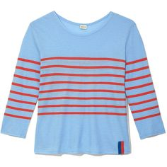 KULE Striped Tee (490 PEN) ❤ liked on Polyvore featuring tops, t-shirts, blue t shirt, striped tee, stripe top, blue top and striped t shirt