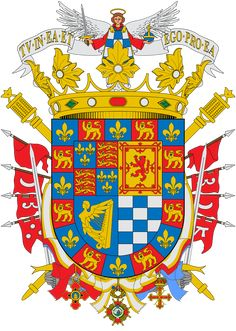 Coat of arms for Cayetana Fitz-James Stuart, Duchess of Alba had close to 50 hereditary titles and the senior claimant to the English dukedom of Berwick (descended from King James II of England through an illegitimate son). Ex Libris, James Stuart, Medieval, Spanish Royalty, Banner, Mystery Of History, Family Crest, Alba, Royal House