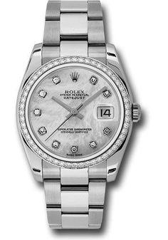 Rolex Datejust Men's Steel Mother of Pearl Diamond Swiss Oyster Watch New 116244 #Rolex #Casual