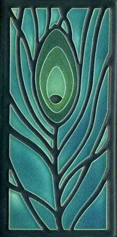 Peacock Feather in Dark Ocean, Motawi Tileworks