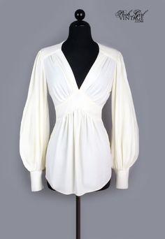 1970s Ivory Ossie Clark Style Poet Sleeve Blouse - M
