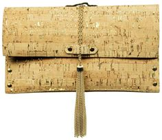 Leather Cork Clutch with gold embellishments-  $175 at Silverwood
