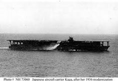 """Kaga: Part of Pearl Harbor attack force, sunk at the Battle of Midway.  She carried 27 fighters (Mitsubishi A6M2 """"Zero"""" planes), 27 Nakajima B5N2 Type 97 torpedo bombers, and 20 Aichi D3A1 Type 99 dive bombers"""