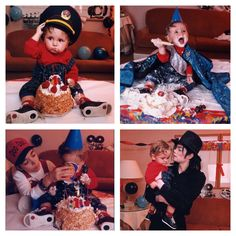 Prince Michael celebrates his first birthday on 13th February 1998 with Omer Bhatti and his father Michael Jackson.