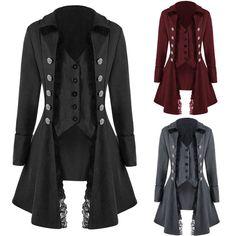 64d5f07e2e18 Manteau pour Femmes Gothique Veste Noir Victorien Steampunk Corset Long  Trench   eBay Femme Gothique,
