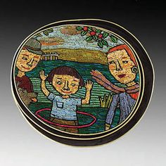 """Cynthia Toops: Hula Hoop Girl, Mosaic brooch in polymer clay with sterling silver bezel by Chuck Domitrovich. Approx 2 1/2 x 2 1/4""""."""