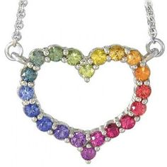 Multicolor Rainbow Sapphire Necklace Heart Design 925 Sterling Silver (2ct tw): sku 1541 - 925
