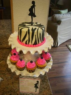 zebra baby shower cake - Zebra shower cake and cupcakes to match invitation.