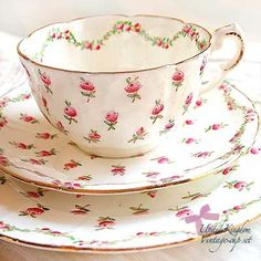Shabby chic tea cup with dainty roses.
