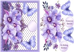 Beautiful Lilac roses and Butterflys  on Craftsuprint designed by Ceredwyn Macrae - A lovely card to make and give with Beautiful Roses and Butterfly's has two greeting tags and a blank one  - Now available for download!