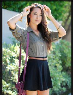 green shirt + navy skirt + belt