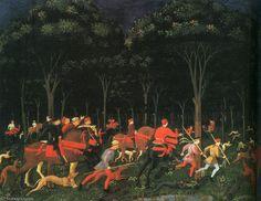 El caza en el bosque ( izquierda ) , 1468 , ashmolean museo de Paolo Uccello (1397-1475, Italy)