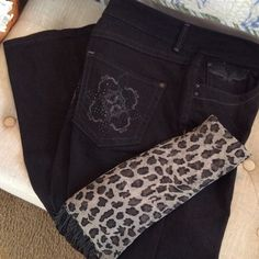 Bandolino Black Embellished Jeans Worn once. 74% cotton, 25% polyester and 1% spandex.  Awesome jeans! Bandolino Jeans Boot Cut