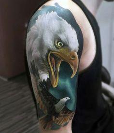 Realista águia braço de tatuagem http://tatuagens247.blogspot.com/2016/08/outlaw-tatuagem-ideias-para-homens.html
