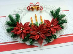 Items similar to Handmade Christmas card/ Merry Christmas card/Quilling/Quilled/ Poinsettia/Christmas candles on Etsy Arte Quilling, Quilling Work, Paper Quilling Jewelry, Quilling Paper Craft, Easy Paper Crafts, Origami Christmas Ornament, Quilling Christmas, Merry Christmas Card, Diy Christmas Gifts