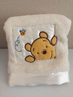 Winnie The Pooh White Ivory Baby Blanket Satin Patch Bee Peek A Boo Plush Soft #Disney